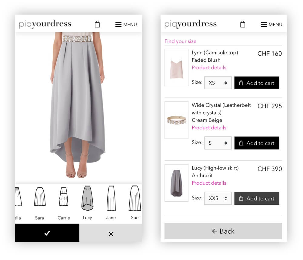 Piqyourdress dressmixer on mobile