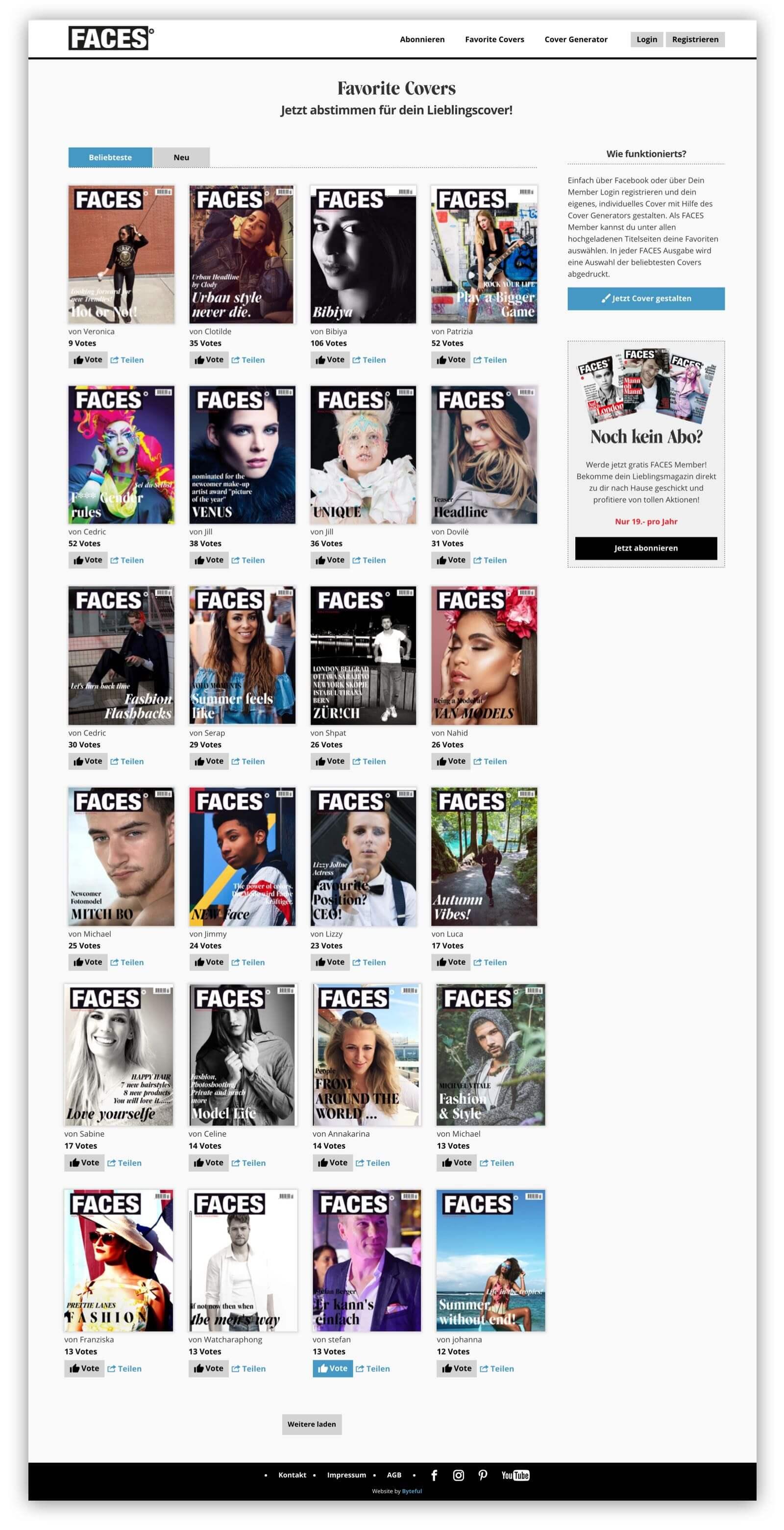 """Desktop screenshot of the """"Favorite Covers"""" view"""